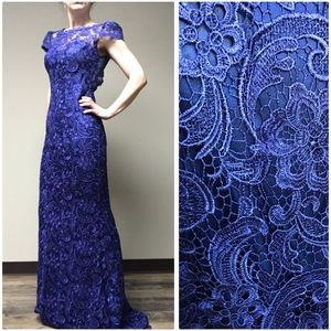 Custom Daniella Couture gown violet lace w train
